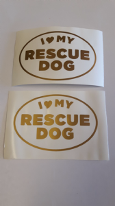 2 x 'I l love my rescue dog' gold car bumper sticker decal ideal for fundraising van boat shop window